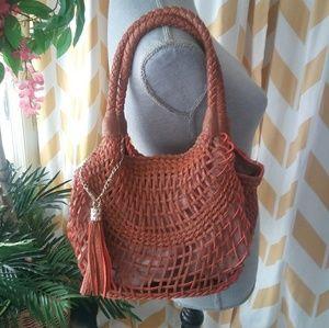 Sondra Roberts SR2 Fringe tassel Hobo woven purse